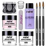 Acrylic Nail Kit Acrylic Powder and Liquid Set, Professional Monomer Liquid Set, with Acrylic Nail Brush, 3 Colors Pink White Clear Nail Powder Kit
