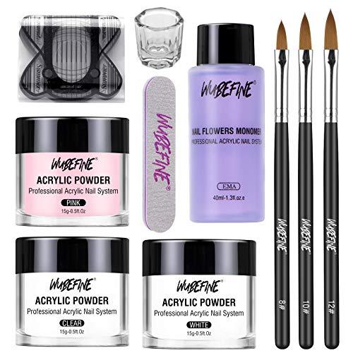 WuBeFine Acrylic Nail Kit Acrylic Powder and Liquid Set, Professional Monomer Liquid Set, with Acrylic Nail Brush, 3 Colors Pink White Clear Nail Powder Kit