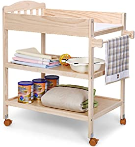 GUO  Baby Crib Diaper Table Solid Wood European Changing Tables Paint-Free Pine Wood Touch Care Massage Table Bath Storage Table Nursery Organizers with Brake Wheels