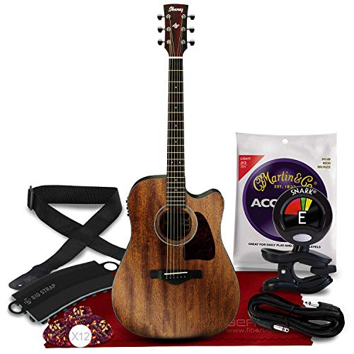 Ibanez AW54CE Artwood Series Acoustic/Electric Guitar (Open Pore Natural) +...