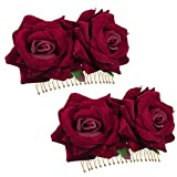 YGSAT 2 Pack Pinza de Pelo de Flor Rosa Pinza de Pelo Rosa roja para Accesorios de Flamenco Pinza de Pelo de Mujer Accesorios de Pelo de Boda para niñas