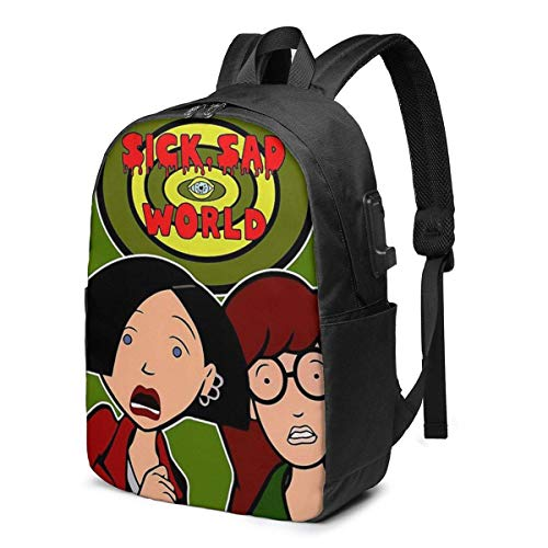 Sick, Sad (and Scary) World USB School Backpack Large Capacity Canvas Satchel Casual Travel Daypack for Adult Teen Women Men 17in