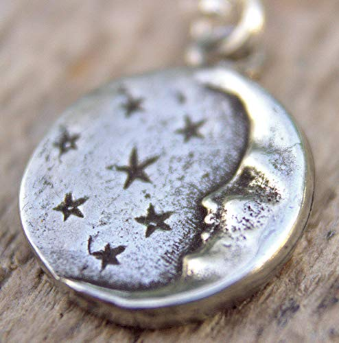 Tiny Silver Man in the Moon Necklace