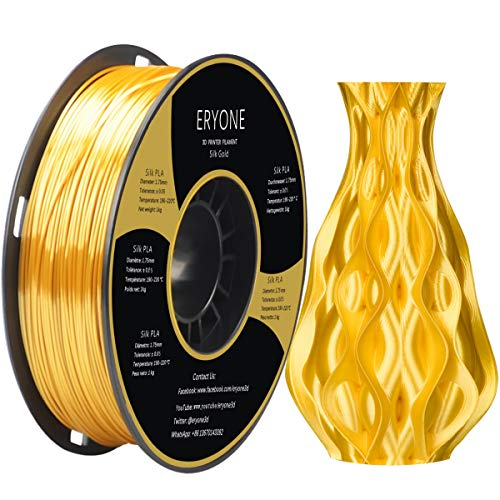 Filamento de PLA seda de ERYONE para impresora 3D, 1,75 mm, tolerancia: ¡À 0,03 mm, 1 kg (2,2 libras) / carrete, Dorado