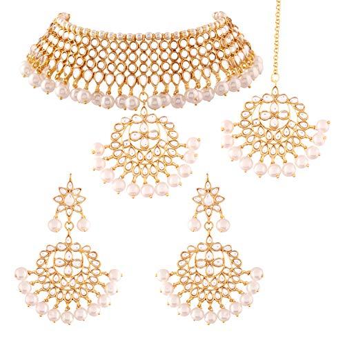 I Jewels Kundan & Pearl Choker Necklace Set for Women (K7058W)
