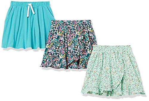 Amazon Essentials Girls Knit Scooter Skirts, 3-Pack Floral/Teal, X-Small