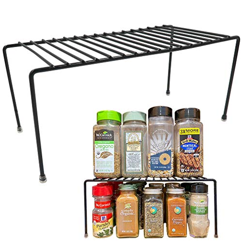 Evelots Kitchen Cabinet/Counter Shelf-Organizer-Double Space-Black Metal-Set/2