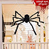 "Joyjoz Halloween Decorations with 110 Sqft Giant Spider Web, 60"" Big Fake Large Spider for Scary Halloween Yard Door & Outdoor Decor, Halloween Party Favor"