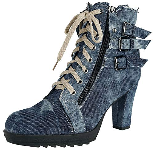 Rock Rebel by EMP Ivy Frauen High Heel blau EU40 Textil Anlässe & Feiertage, Basics, Rockwear
