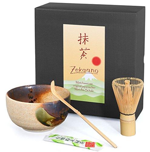 Matcha Set - Original japanische Matcha-Schale (Chawan) beige/braun handglasiert, Matcha-Besen (Chasen) und Bambus-Löffel (Chashaku)