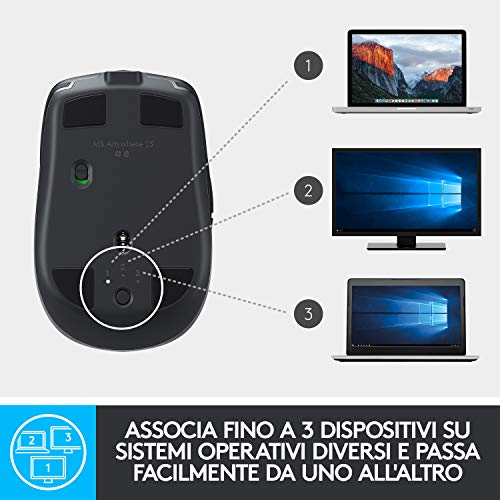 Logitech MX Anywhere 2S Mouse Wireless, Multidispositivo, Bluetooth o 2.4 GHz Wireless con Ricevitore USB Unifying, 4000 DPI su Ogni Superficie, 7 Pulsanti, Ricaricabile, PC/Mac/Laptop/iPadOS, Nero