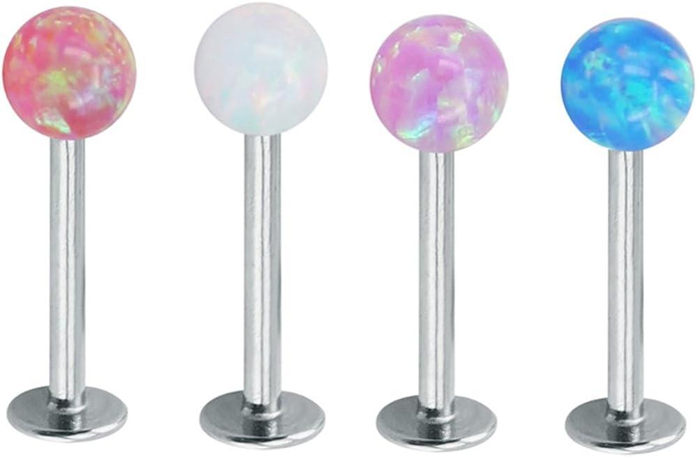 Piercingpops 4PCS 16g Opal Labret Piercing Stainless Steel Cartilage Earring Tragus Helix Monroe Piercing Jewelry