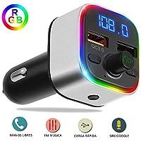 YiYunTE Transmisor FM Bluetooth 5.0 para Coche Manos Libres QC3.0 Carga Rápida RGB Luz Inalámbrico Reproductor MP3 Coche Adaptador de Radio Soporte USB Dual 5V/2.4A & 1A Tarjeta SD Flsh Drive
