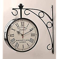 Wgloryind 8 Inch Antique Double Sided Railway Station/Platfarm Analog Wall Clock