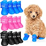 Weewooday 12 Pieces Waterproof Dog Boots Shoes Puppy Candy Colors Non-Slip Rain Shoes Pet Boots for Snow Rain Day Middle and Small Dogs Teddy Pomeranian Bichon (Small)