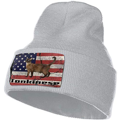 AEMAPE Tonkinese Cat America Flag Unisex Strickmütze Mode Schädelkappe...