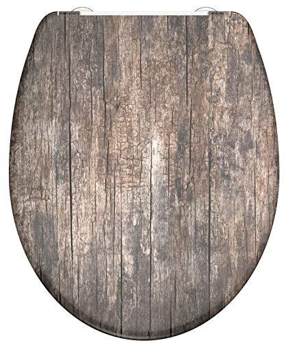 SCHÜTTE OLD WOOD 82368 WC-Sitz Duroplast, Toilettensitz mit Absenkautomatik und Schnellverschluss für die einfache Reinigung, maximale Belastung 150 kg, Motiv Holzoptik