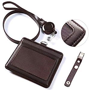 ネームホルダー、VIAKY id カードホルダー レザー パスケース 伸縮リール式 ネックストラップ バンドクリップ 付き 社員証 名札 定期入れ ケース 横型 メンズ&レディース 機能性 プレゼント ポケット二つ ブラウン