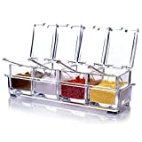 Luyy Seasoning Box, Seasoning Rack Spice Pots, Storage Container Condiment Jars, 4 Piece Clear Acrylic Cruet with Cover and Spoon Transparent