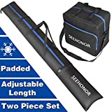 SEEHONOR Padded Ski Bag and Boot Bag Combo, Store Transport Skis Up to 79 Inch...