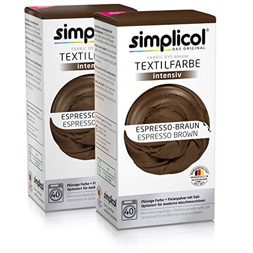 simplicol Textilfarbe intensiv (18 Farben), Espresso-Braun 1816 2er Pack, Dunkelbraun: Einfaches Färben in der Waschmaschine, All-in-1 Komplettpackung