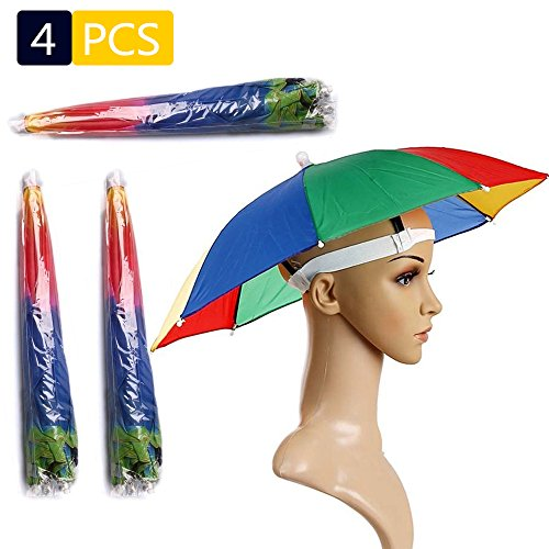 4 Pack Umbrella Hat , Rainbow Adult Cap Multicolor Hands With Head Strap , 21' Diameter Folding Waterproof Elastic Fishing Headwear For Sun , Rain , Beach , Golf , Hiking , Party Color Randomly