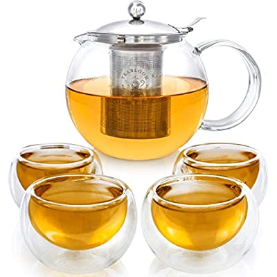 Teabloom Stovetop Safe Glass Teapot with Removable Infuser (40oz/1200ml) and Four Double Walled Glass Cups (5oz/150ml) - Classica Tea Set