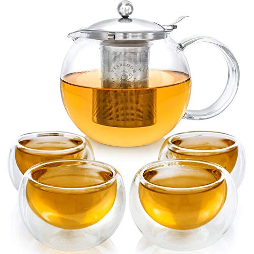 NEW DESIGN – Stovetop Safe  LeadFree Glass Teapot Set 40 oz / 1200 ml with Removable Stainless Steel Infuser for Loose Tea – Includes 4 Insulated Double Wall Glass Cups 5 oz / 150 ml