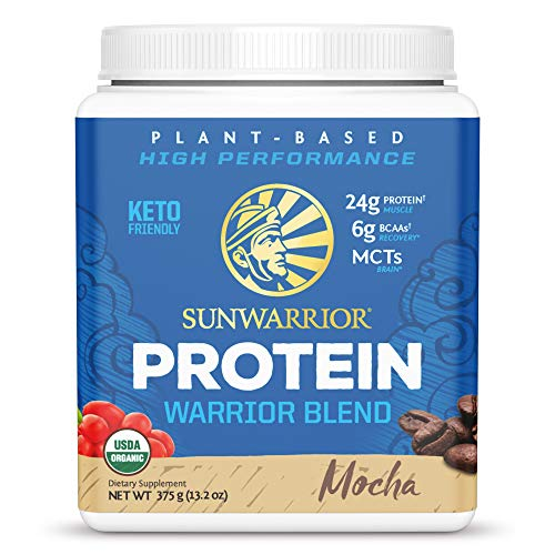 Sunwarrior - Warrior Blend - Plant Based Raw Vegan Pea Protein Powder with Hemp Protein and MCTs from Coconut - Mocha - 375g