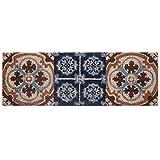 Baroni Home Paillasson d'entrée en coco avec base en PVC, peint à la main, briques, bleu et...