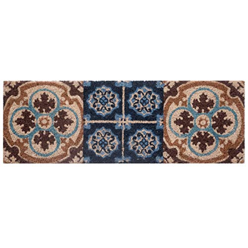Baroni Home Fußmatte für den Eingangsbereich aus Kokos mit Unterseite aus PVC, handbemalt, Fliesen blau und braun, 70 x 25 x 2 cm, leicht zu reinigen und sehr strapazierfähig