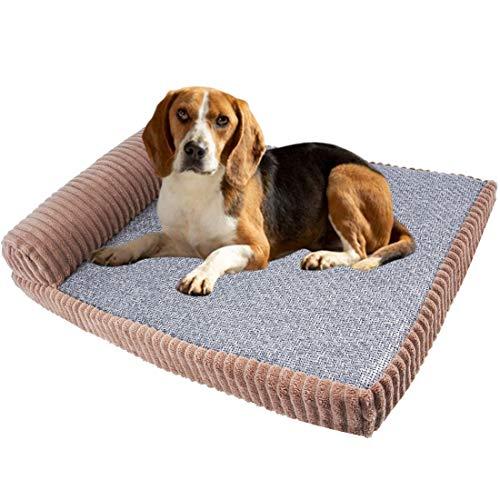Qchomee Materasso ortopedico per cani e gatti in memory foam, cuscino in tessuto felpato superiore rimovibile, lavabile, antiscivolo, per animali di piccola taglia e media e grande