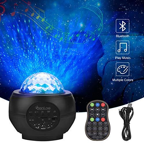 Osaloe LED Sternenhimmel Projektor, Sternenlicht Projektor mit Bluetooth und Timer, Musik Nachtlicht mit Fernbedienung, Dekorative Lichter für Zuhause, Party, Weihnachten, Kinder, Erwachsene