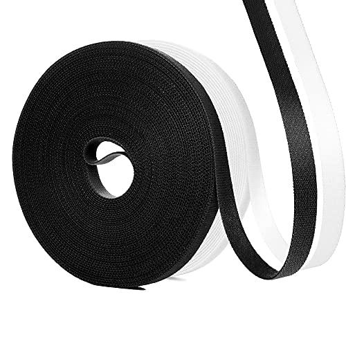 QKFON 20 m de velcro presilla reutilizable, cinta de velcro, rollo de...