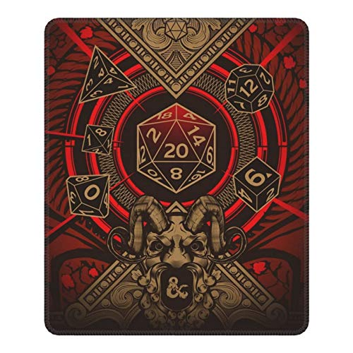 Dungeons and Dragons Mouse Pad - Gaming Computer Mouse Pad Non-Slip Rubber Base with Stitched Edge Mat, Mousepad for Laptop Computer Kids Office Dorm (25x30cm)