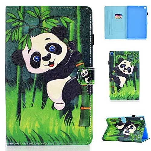 YidaSN Funda para Samsung Galaxy Tab A 10.1 Inch 2019 SM-T510 / SM-T515 Funda Protectora de Cuero PU,con función de Soporte,Ranura para Tarjetas - Abrazo Panda