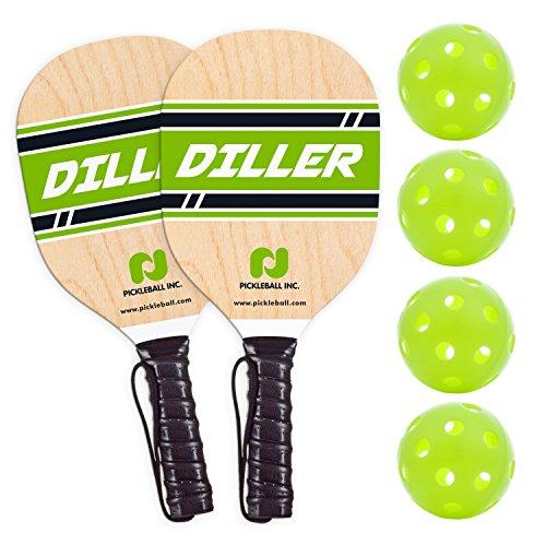 Diller Pickleball Paddle 2 Player Bundle (Set Includes 2 Paddles & 4 Balls)