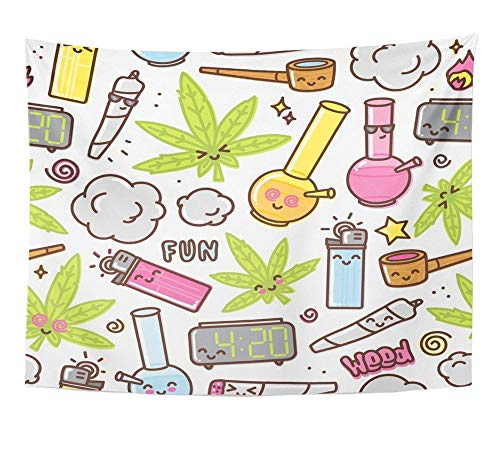 SPXUBZ Wall Tapestry Green Weed Marijuana Kawaii Cartoon Pattern White Cannabis Leaf Smoke Bong Pot Wall Hanging Decoration Soft Fabric Tapestry Perfect Print for House Rooms