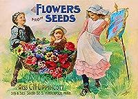 種子からの花、ブリキのサインヴィンテージ面白い生き物鉄の絵画金属板ノベルティ