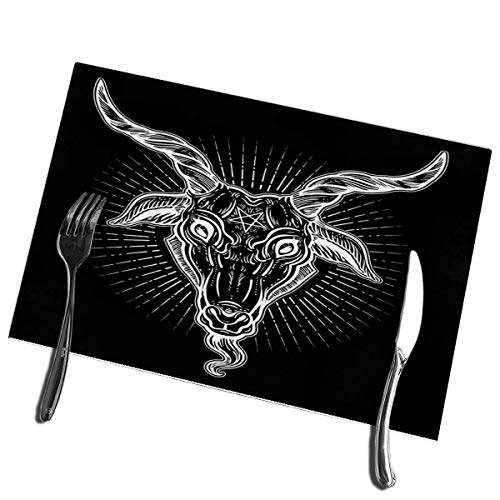 Winter-South placemats voor eettafel, pentagram op de kop van de Demonio Baphomet satanbakstegels symbool railsymbool wasbaar tafelkleed onderhoudsvriendelijk