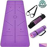 HQPD Esterilla Yoga Colchoneta de Yoga Antideslizante con Material ecológico TPE con líneas corporales Yoga Mat diseñado para Entrenamiento y Entrenamiento físico