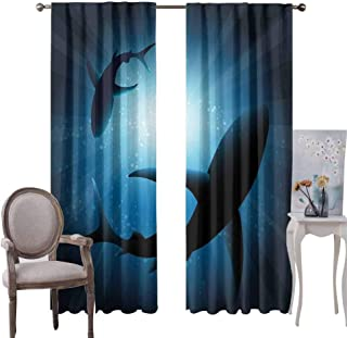 GUUVOR Shark for Bedroom Blackout Curtains Silhouette of The Fishes Swimming at Twilight Night Moon Mystic Magical Sea Scenery Blackout Curtains for The Living Room W96 x L84 Inch Dark Blue