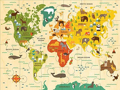 PetitCollage〔パズルが好きになる優しいデザイン〕お子様用世界地図ジグソーパズル1歳半から推奨(24ピース)