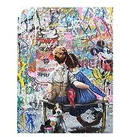キッドルームウォールアート| 現代のポップアート素敵な男の子抱擁女の子バンクシーグラフィティアートポスター子供たちの愛の壁の写真のキャンバスプリントリビングルームの装飾絵画| フレームレス,70×90cm