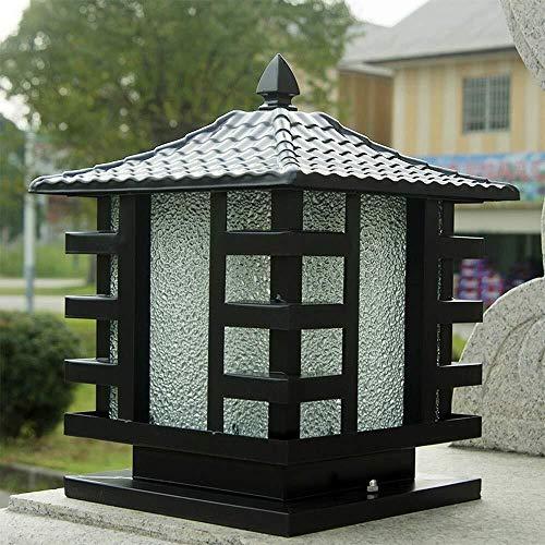 HLR staande lamp voor buiten, waterdicht, lantaarn, glas, zuil, retro, E27, aluminium, villa, tuin, buitenverlichting