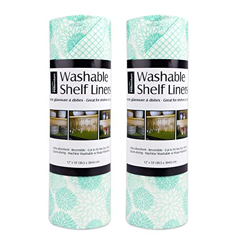 DII Non Adhesive Cut to Fit Machine Washable Shelf Liner Paper For Cabinets, Kitchen Shelves, Drawers, Set of 2, 12 x 10' - Aqua Dahlia