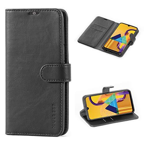 Mulbess Handyhülle für Samsung Galaxy M30s Hülle, Leder Flip Hülle Schutzhülle für Samsung Galaxy M30s Tasche, Schwarz