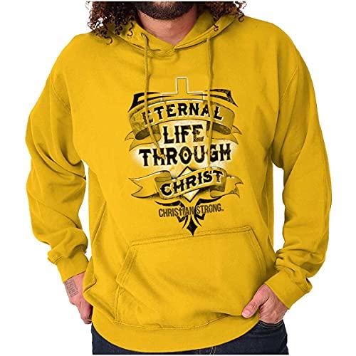 Eternal Life Through Christ Cross Hoodie Sweatshirt Women Men Gold