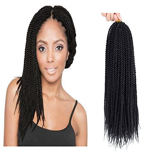 "Befunny 8Packs 14 inch Senegalese Twist Crochet Hair Short Crochet Braids Small Pre Looped Mini Havana Mambo Ez Twist Black Crochet Braiding Hair,20strands/pack(14"", 1B#)"