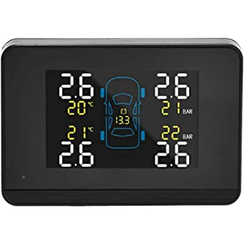 KKmoon TPMS Reifendruckkontrollsystem Solar Reifendruckmesser mit 2 externen Sensoren LCD Display Alarmfunktion Temperatur Anzeige f/ür Motorrad